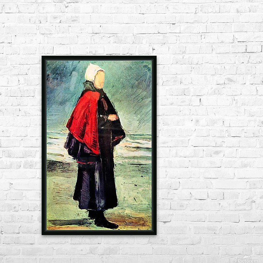 Fisherwoman on the shore by Van Gogh HD Sublimation Metal print with Decorating Float Frame (BOX)