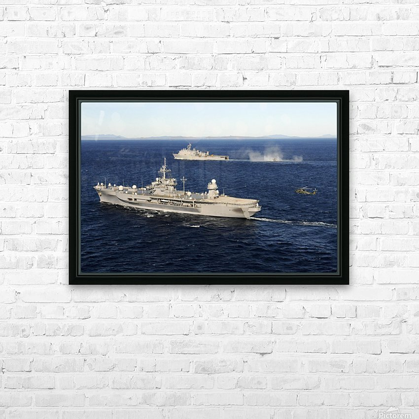 USS Blue Ridge conducts flight operations in the Coral Sea while underway with  USS Germantown. HD Sublimation Metal print with Decorating Float Frame (BOX)