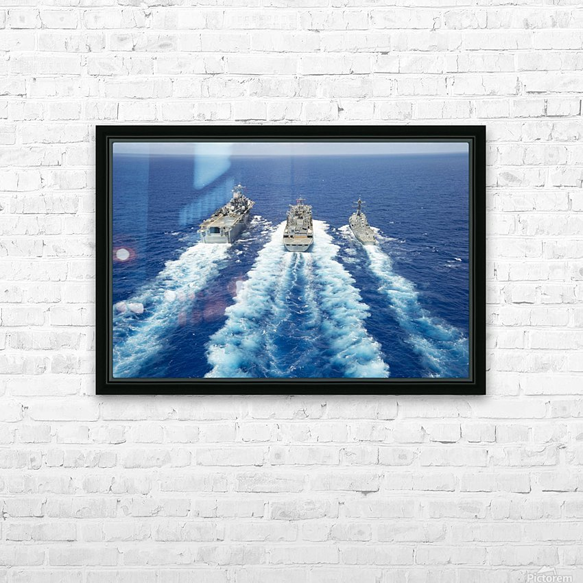 USS Peleliu and USS Spruance conduct a replenishment at sea with USNS Rainier. HD Sublimation Metal print with Decorating Float Frame (BOX)