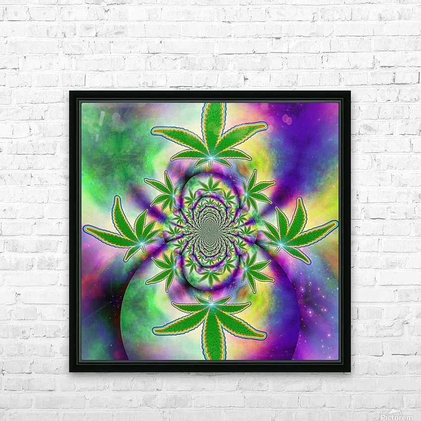 Marijuana Leaf HD Sublimation Metal print with Decorating Float Frame (BOX)