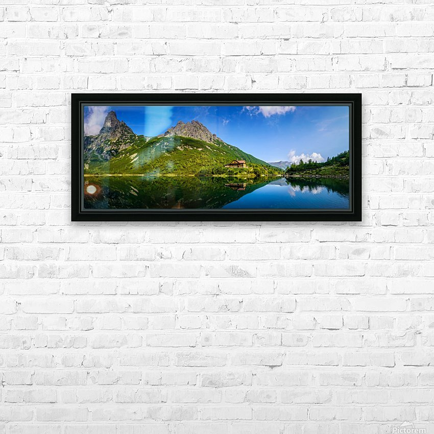 Mountain cottage at the Zelene pleso HD Sublimation Metal print with Decorating Float Frame (BOX)