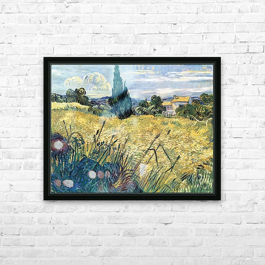 Green wheat field with cypress by Van Gogh HD Sublimation Metal print with Decorating Float Frame (BOX)