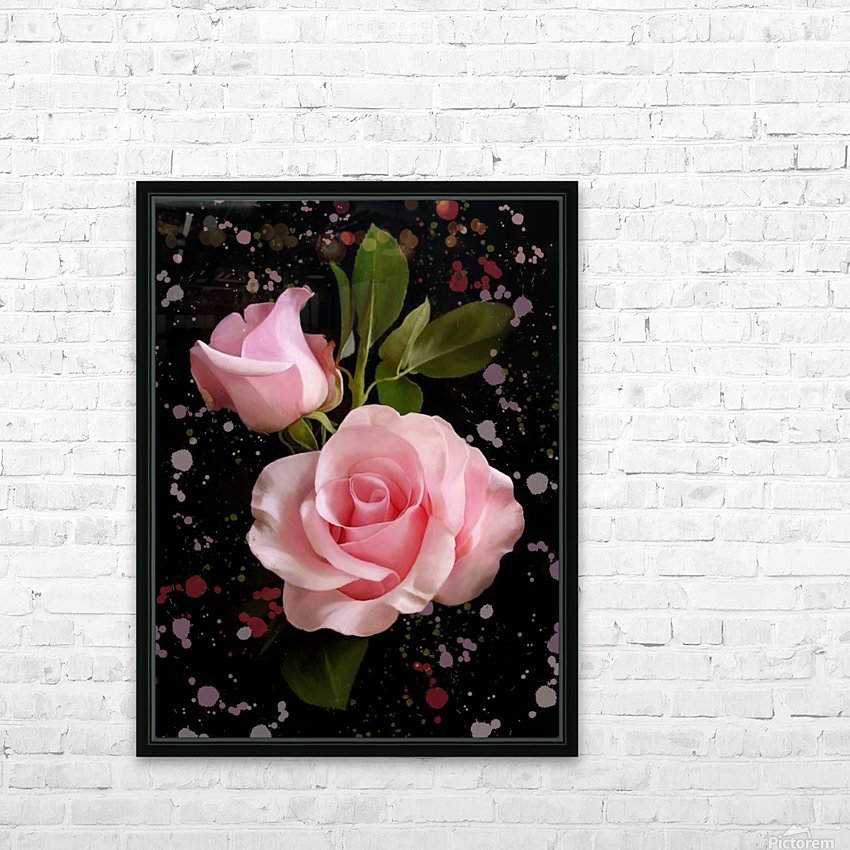 Pink Roses HD Sublimation Metal print with Decorating Float Frame (BOX)
