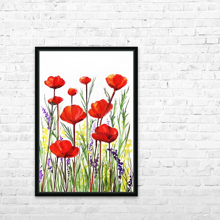 Red Poppies And Lavender Field Watercolor HD Sublimation Metal print with Decorating Float Frame (BOX)