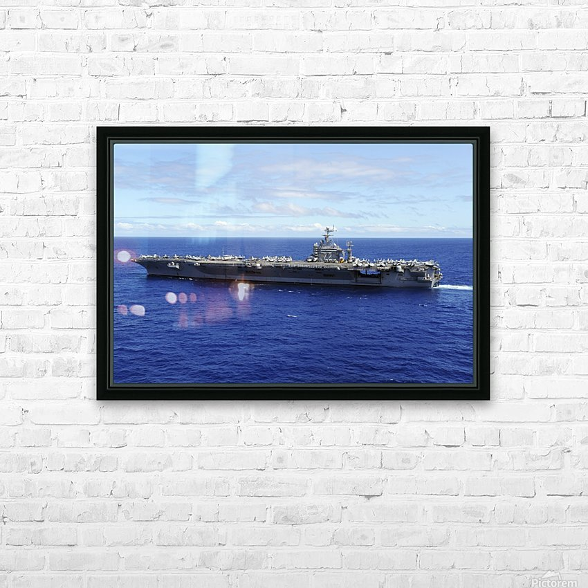 The aircraft carrier USS Abraham Lincoln transits across the Pacific Ocean. HD Sublimation Metal print with Decorating Float Frame (BOX)