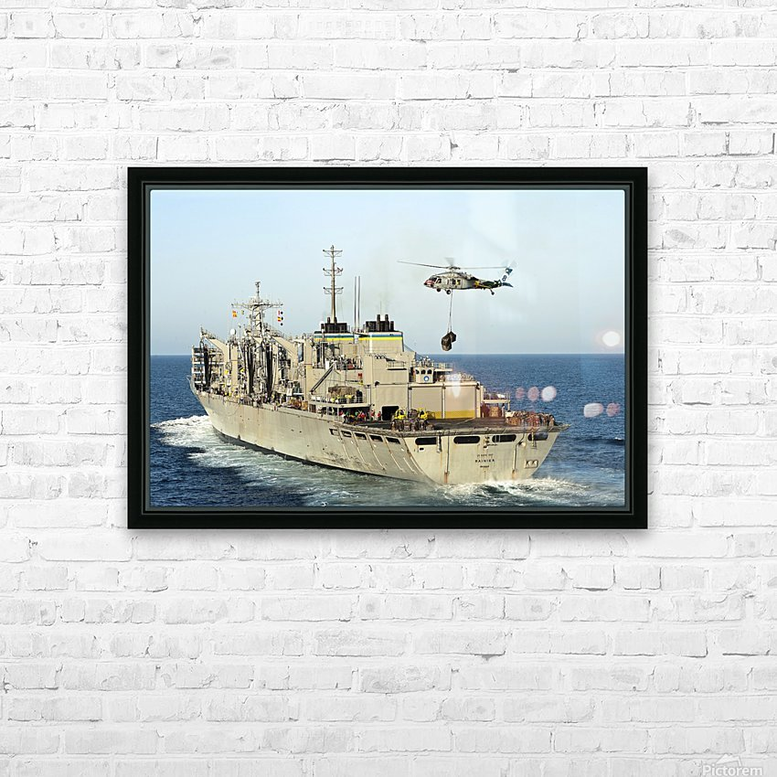 An MH-60S Knighthawk lifts cargo from the fast combat support ship USNS Rainier. HD Sublimation Metal print with Decorating Float Frame (BOX)