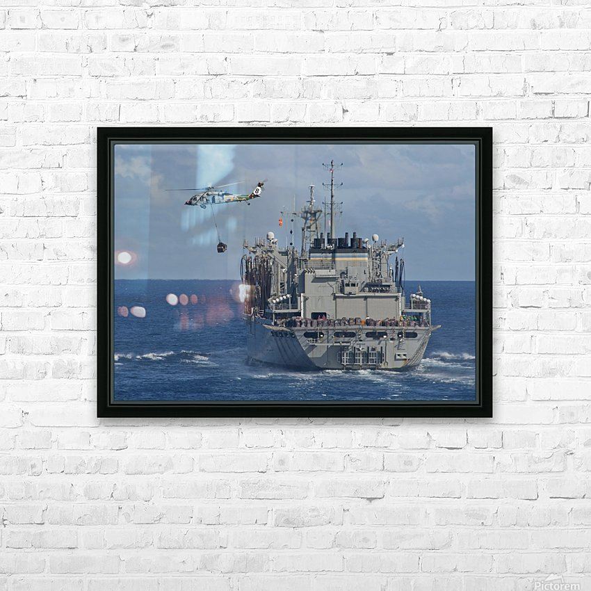 An MH-60S Sea Hawk conducts a vertical replenishment with USNS Bridge. HD Sublimation Metal print with Decorating Float Frame (BOX)