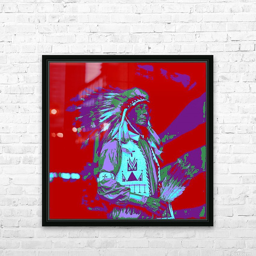 Indian Chief Pop Art HD Sublimation Metal print with Decorating Float Frame (BOX)