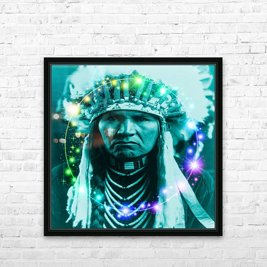 Magical Indian Chief HD Sublimation Metal print with Decorating Float Frame (BOX)