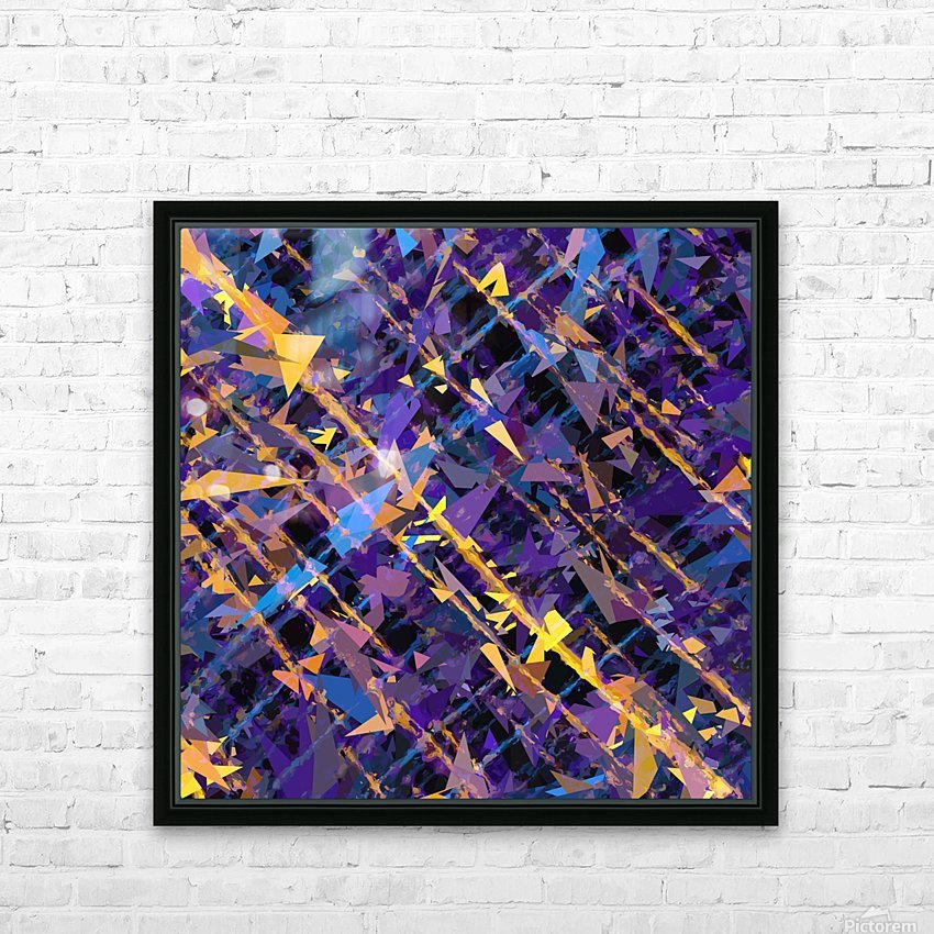 splash geometric triangle pattern abstract background in blue purple yellow HD Sublimation Metal print with Decorating Float Frame (BOX)