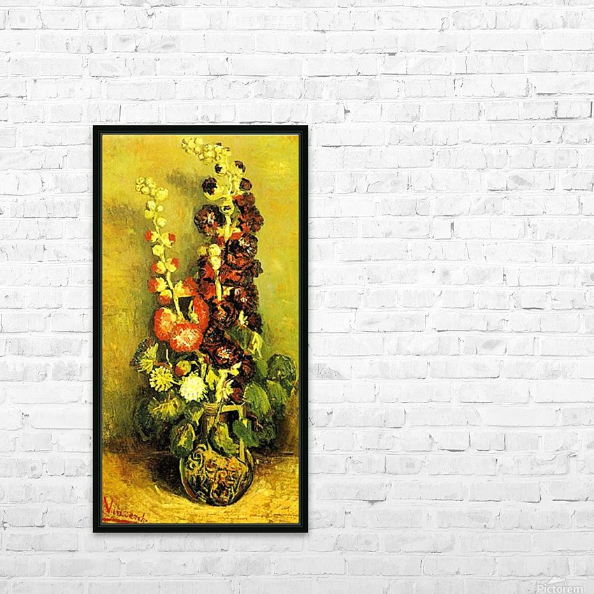 Hollyhocks by Van Gogh HD Sublimation Metal print with Decorating Float Frame (BOX)
