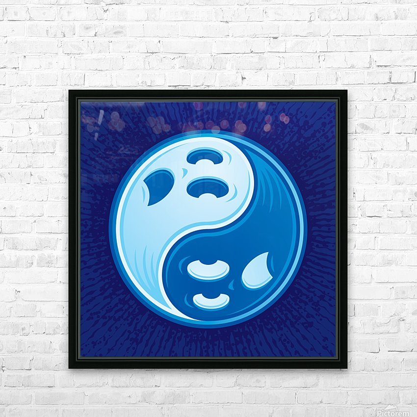 Ghost Yin Yang Symbol HD Sublimation Metal print with Decorating Float Frame (BOX)