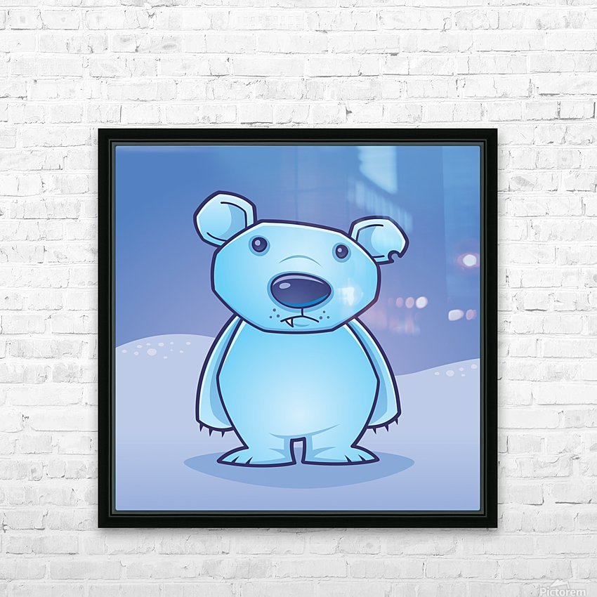 Polar Bear Cub HD Sublimation Metal print with Decorating Float Frame (BOX)
