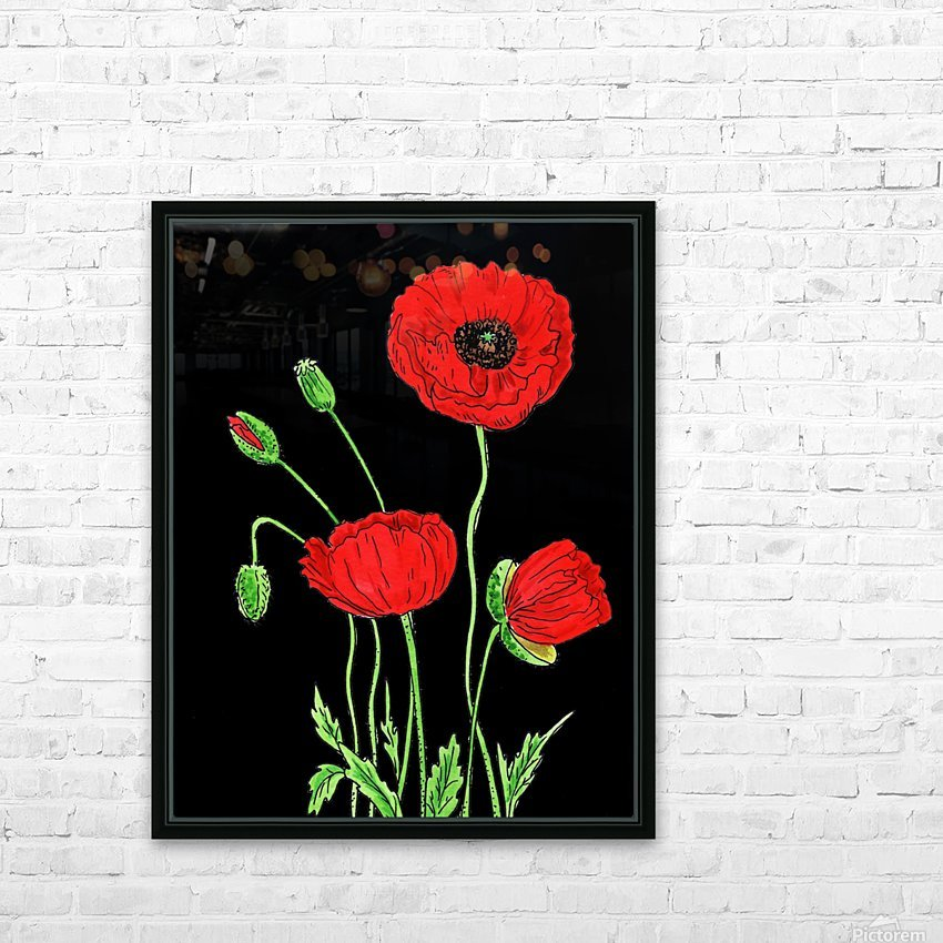 Red Poppy Flowers Watercolor HD Sublimation Metal print with Decorating Float Frame (BOX)
