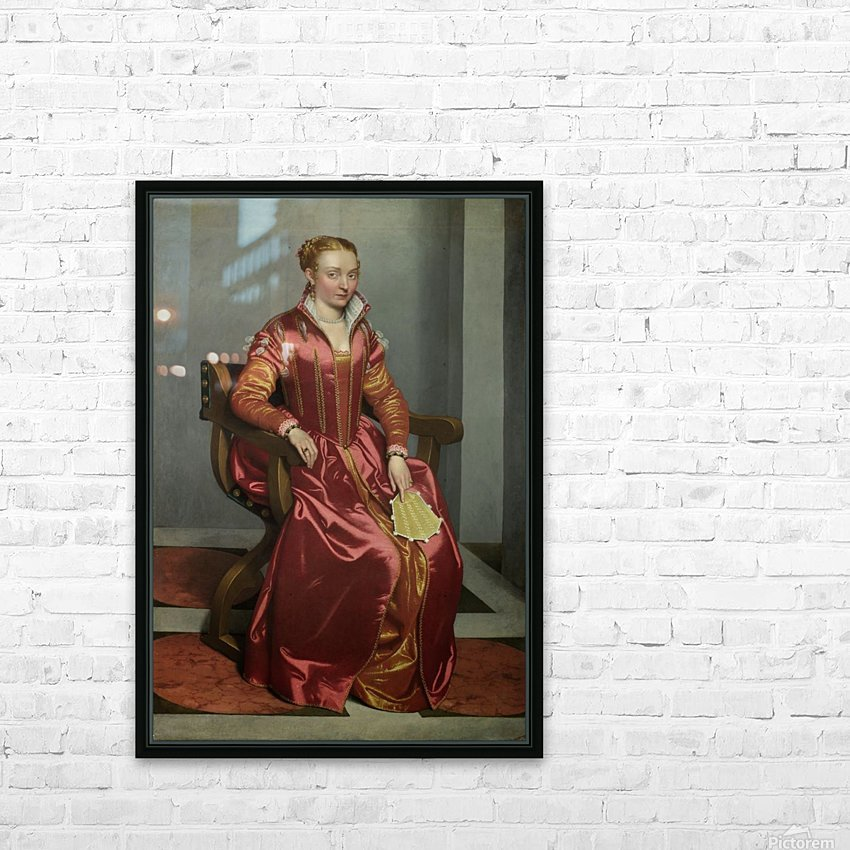 Portrait of a Lady ('La Dama in Rosso') HD Sublimation Metal print with Decorating Float Frame (BOX)
