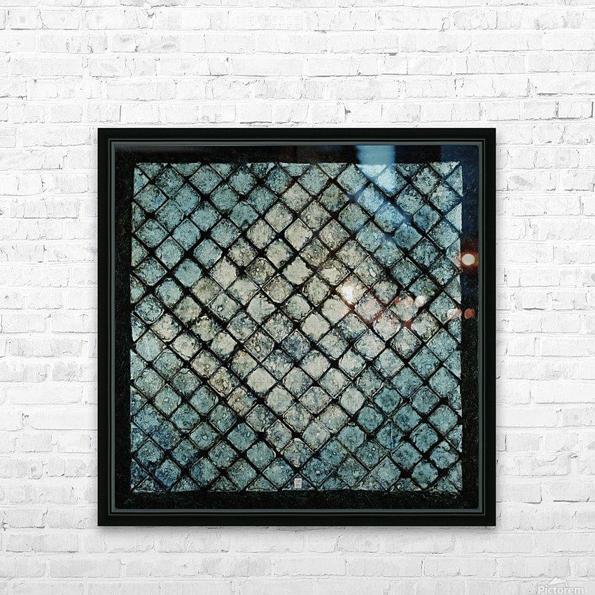 Les bleus vitraux -  Contemporary Art HD sublimation métal imprimé avec décoration flotteur cadre (boîte)