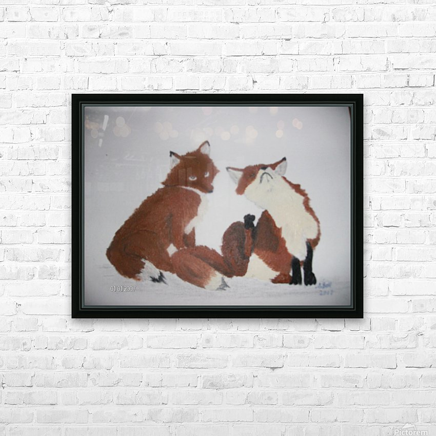 Red Fox pair HD Sublimation Metal print with Decorating Float Frame (BOX)