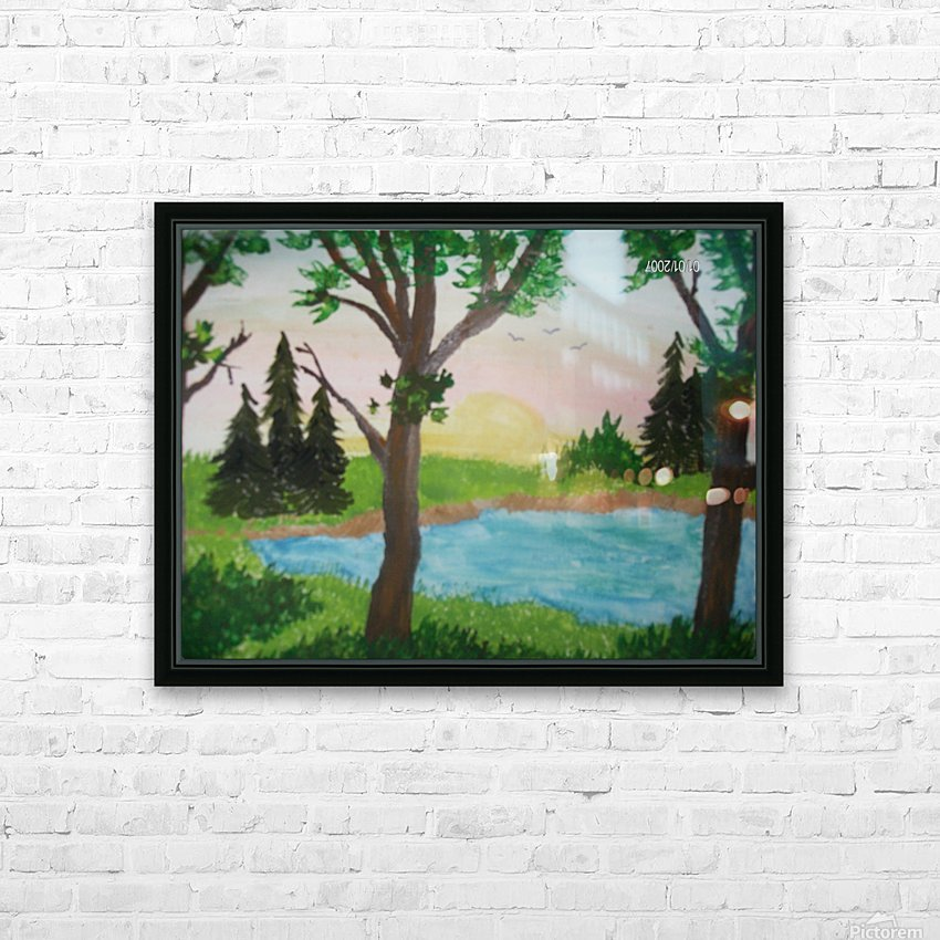 Sunset over the pond HD Sublimation Metal print with Decorating Float Frame (BOX)