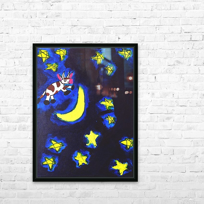Cow Jumped over the Moon. Dominic H HD Sublimation Metal print with Decorating Float Frame (BOX)
