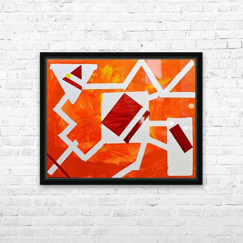Geometric Orange. Jessica B HD Sublimation Metal print with Decorating Float Frame (BOX)