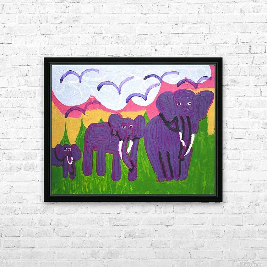 Purple Elephants. Michael D. HD Sublimation Metal print with Decorating Float Frame (BOX)