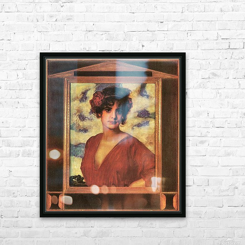 Lady in Red by Franz von Stuck HD Sublimation Metal print with Decorating Float Frame (BOX)