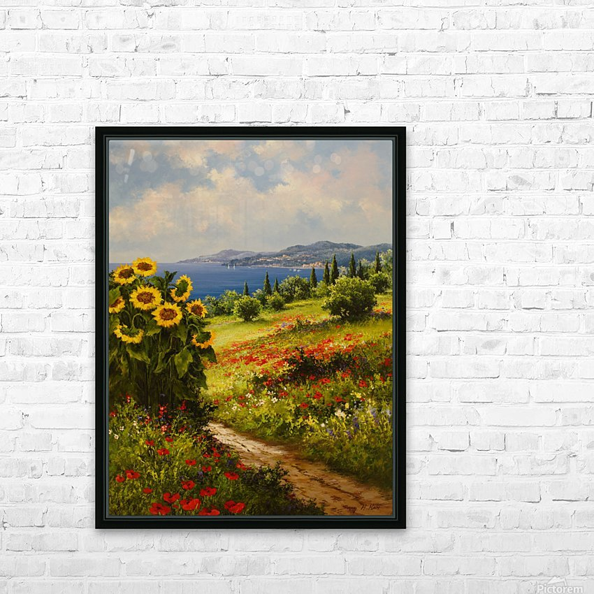 The Sunflower Grove HD Sublimation Metal print with Decorating Float Frame (BOX)