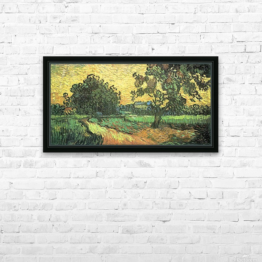 Landscape with Castle Auvers at Sunset by Van Gogh HD Sublimation Metal print with Decorating Float Frame (BOX)