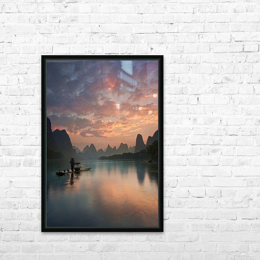 Li River Sunrise HD Sublimation Metal print with Decorating Float Frame (BOX)