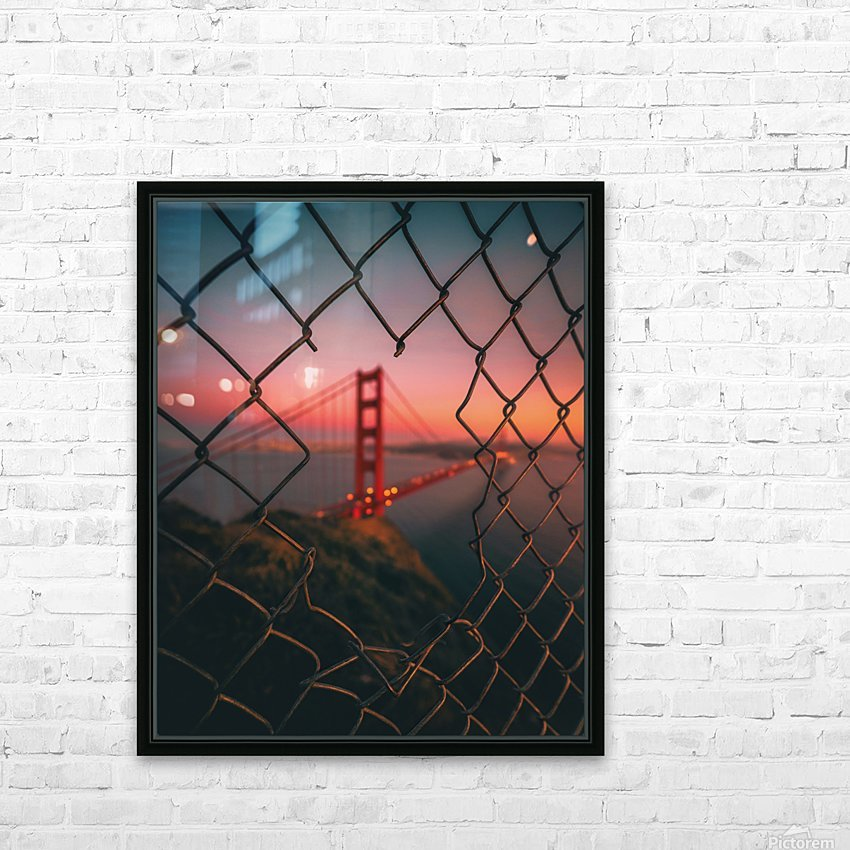 Golden Gate Caged HD Sublimation Metal print with Decorating Float Frame (BOX)