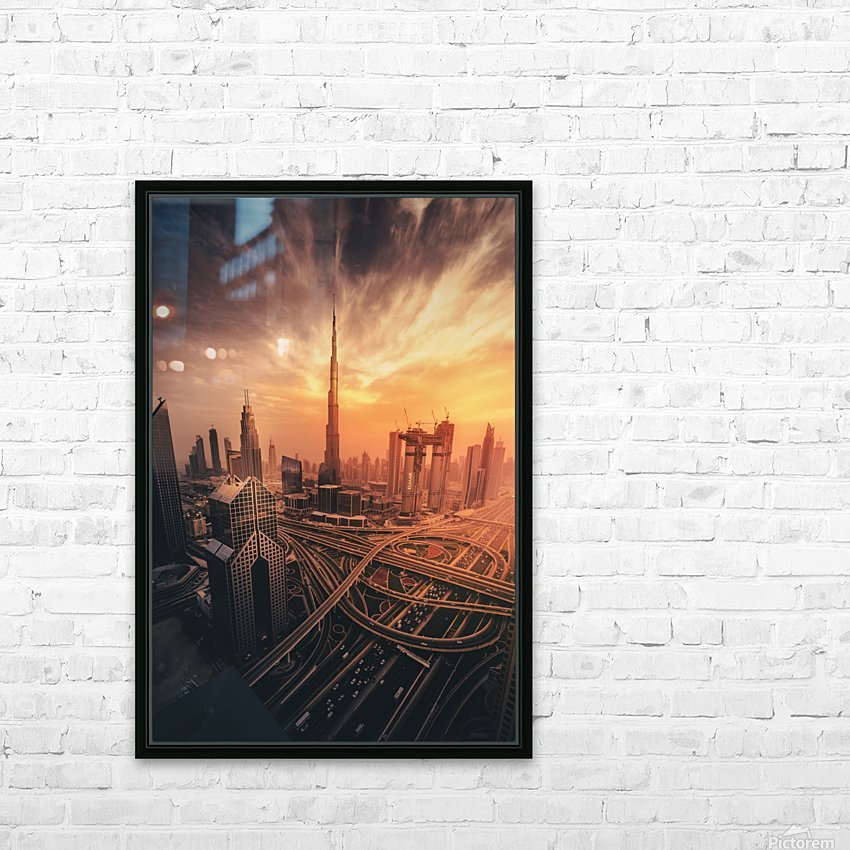 Dubai's Fiery sunset HD Sublimation Metal print with Decorating Float Frame (BOX)