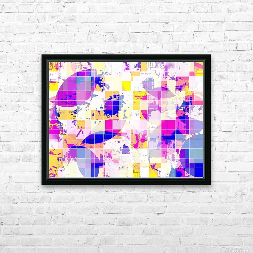 geometric square and circle pattern abstract in pink blue yellow HD Sublimation Metal print with Decorating Float Frame (BOX)