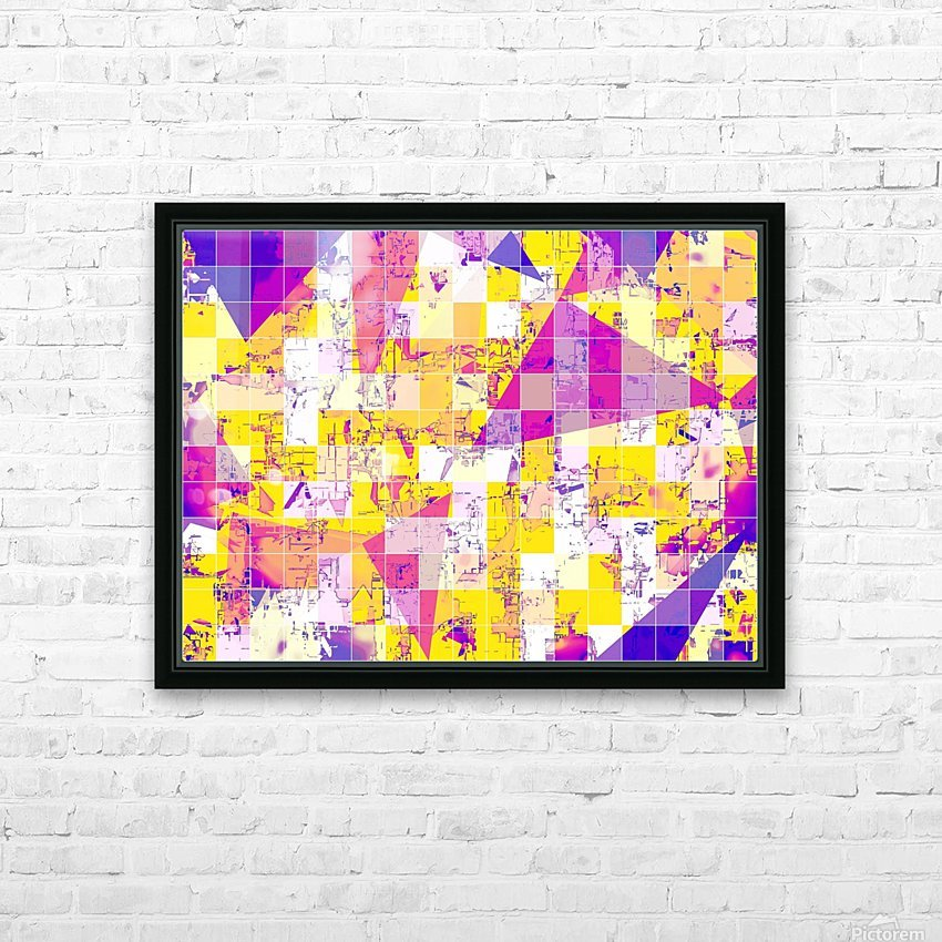 geometric square and triangle pattern abstract in pink yellow blue HD Sublimation Metal print with Decorating Float Frame (BOX)