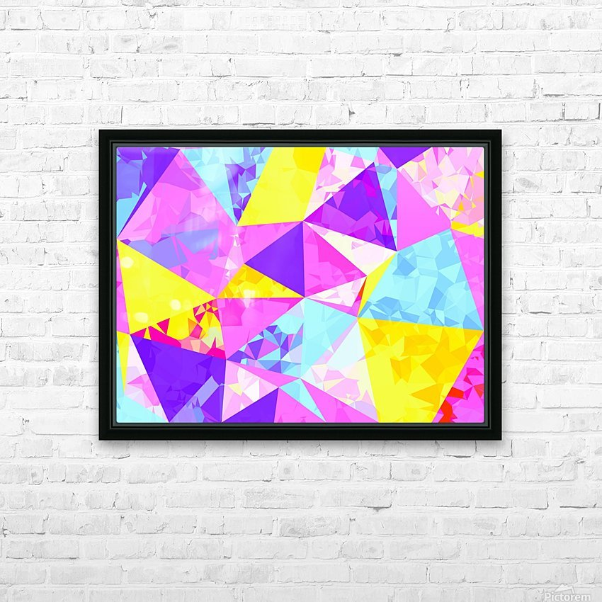 geometric triangle polygon pattern abstract in pink purple blue yellow HD Sublimation Metal print with Decorating Float Frame (BOX)