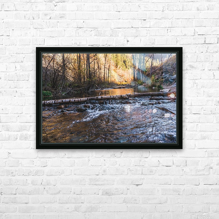 Log Block Creek HD Sublimation Metal print with Decorating Float Frame (BOX)