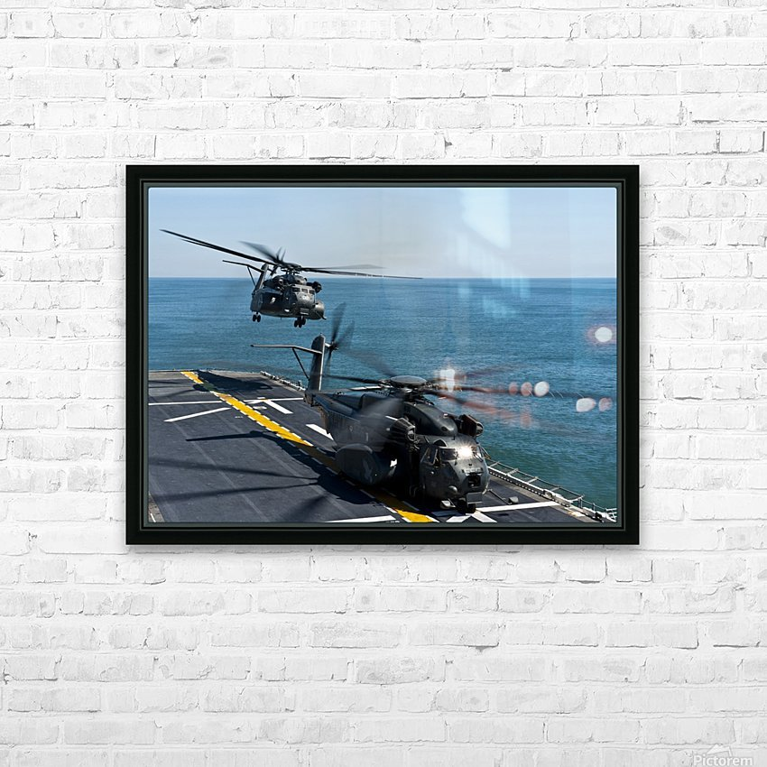 MH-53E Sea Dragon helicopters take off from the flight deck of USS Wasp. HD Sublimation Metal print with Decorating Float Frame (BOX)