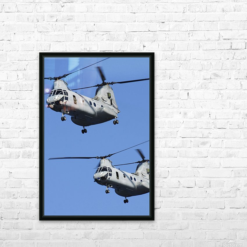 Two U.S. Marine Corps CH-46E Sea Knight helicopters in flight. HD Sublimation Metal print with Decorating Float Frame (BOX)