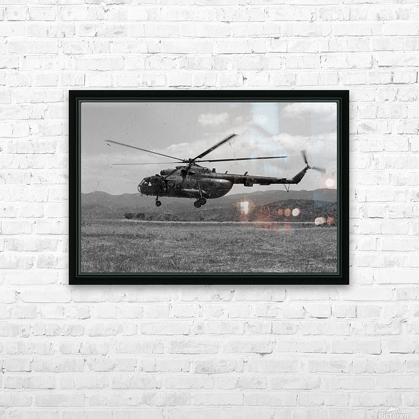 A Macedonian MI-17 helicopter landing as part of a medical transport flight. HD Sublimation Metal print with Decorating Float Frame (BOX)