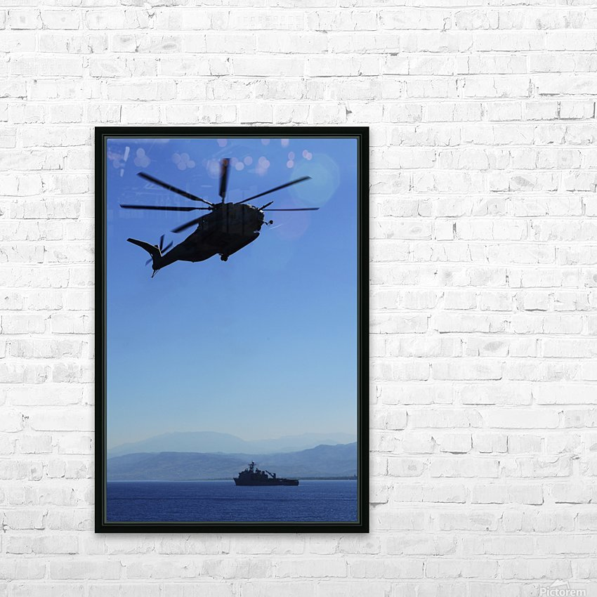 A CH-53E Super Stallion helicopter. HD Sublimation Metal print with Decorating Float Frame (BOX)
