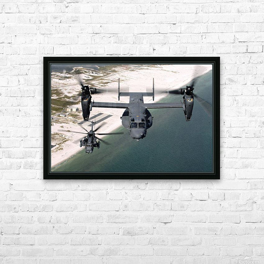 A CV-22 Osprey and an MH-53 Pave Low fly over the coastline of Florida. HD Sublimation Metal print with Decorating Float Frame (BOX)