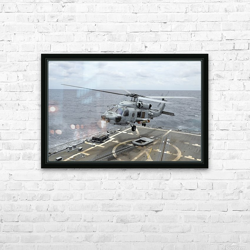 An MH-60R Sea Hawk helicopter lifts off from USS Wayne E. Meyer. HD Sublimation Metal print with Decorating Float Frame (BOX)