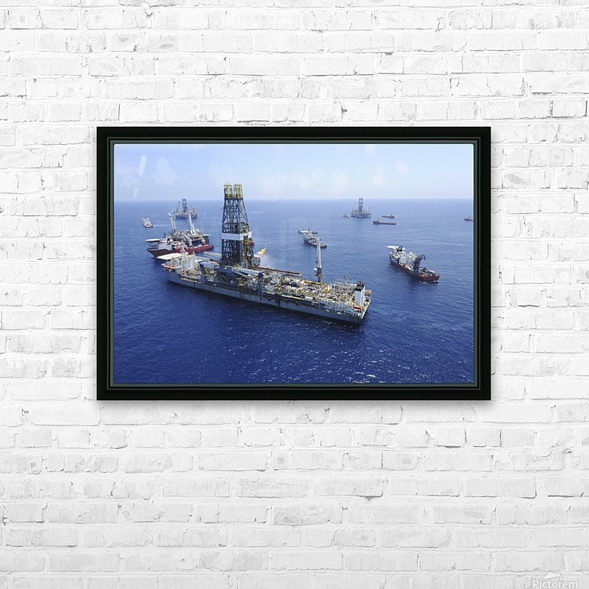 Flaring operations conducted by the drillship Discoverer Enterprise. HD Sublimation Metal print with Decorating Float Frame (BOX)
