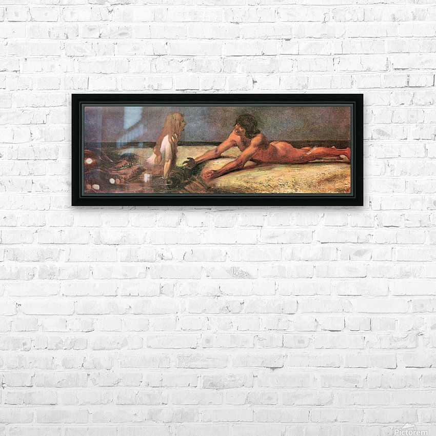 Mermaid by Franz von Stuck HD Sublimation Metal print with Decorating Float Frame (BOX)