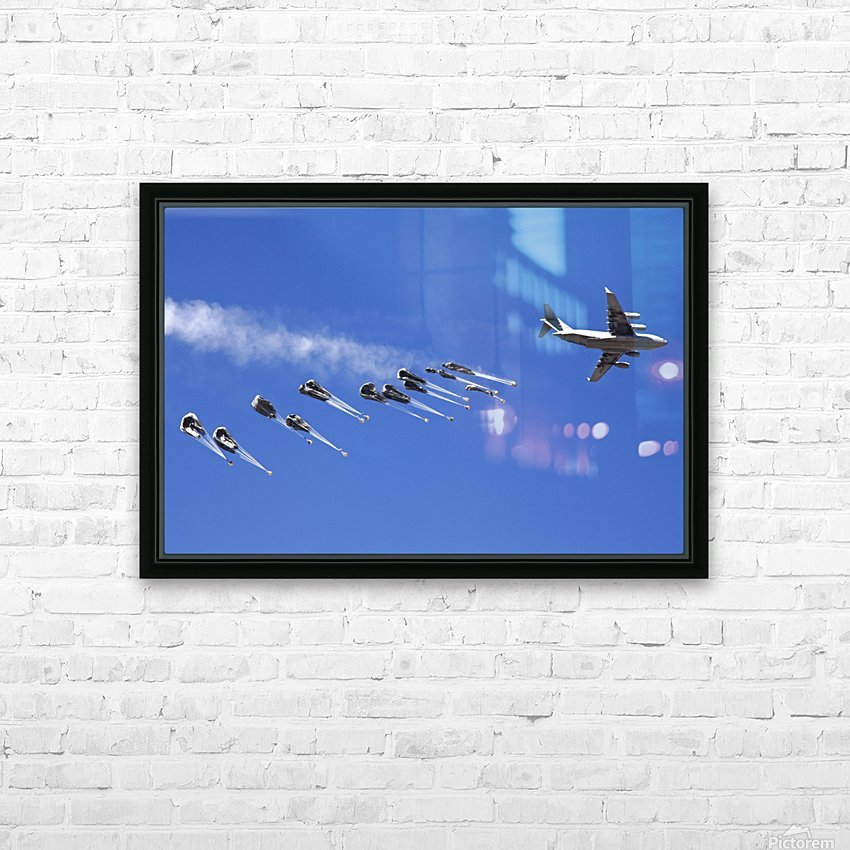 A C-17 Globemaster ejects a supply load of pallets during Operation Koranai Permakhtag. HD Sublimation Metal print with Decorating Float Frame (BOX)