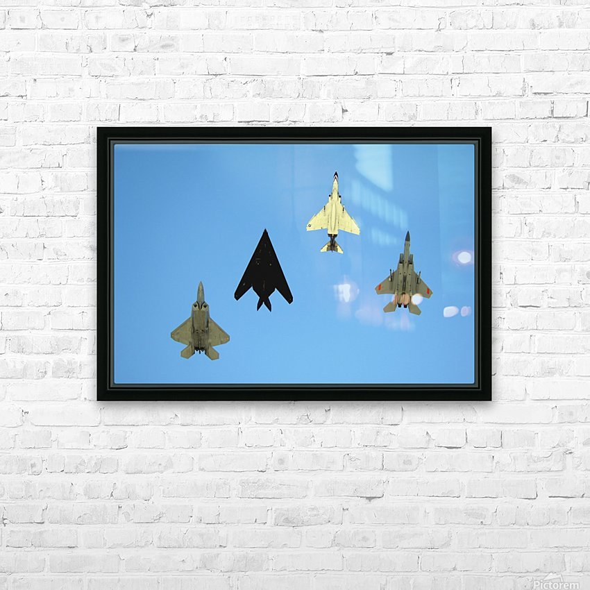 An F-22 Raptor an F-117 Nighthawk an F-4 Phantom and an F-15 Eagle in flight. HD Sublimation Metal print with Decorating Float Frame (BOX)