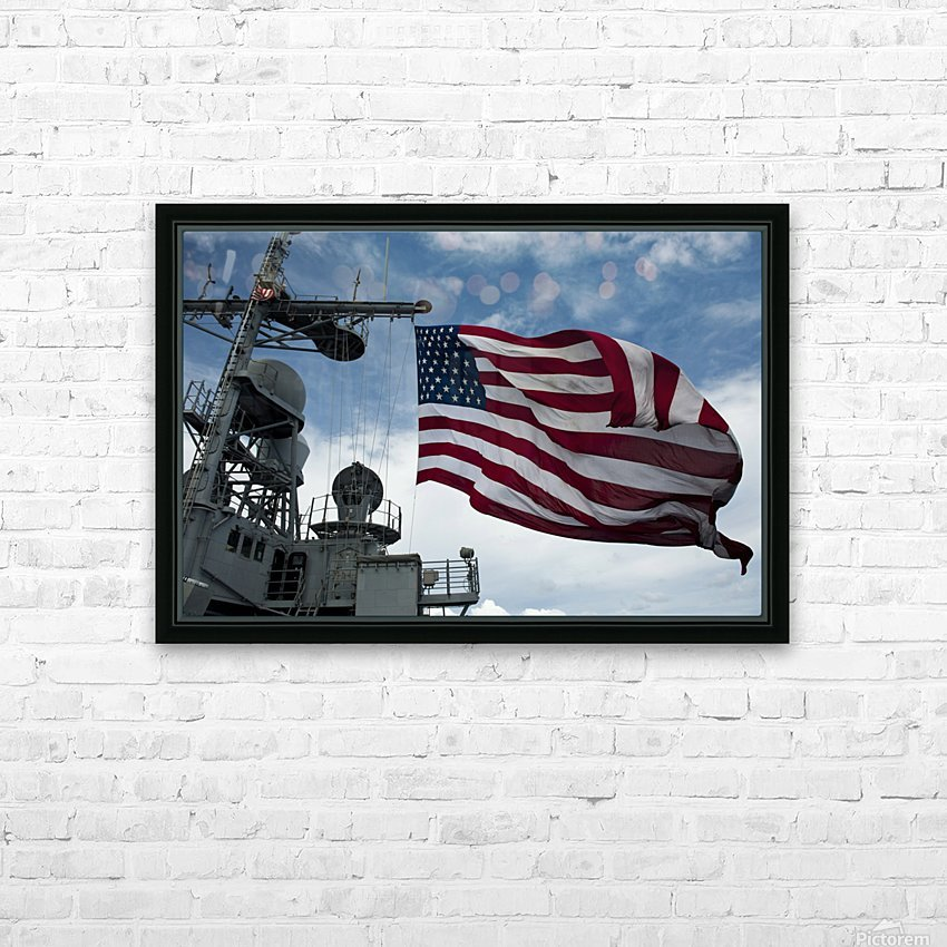 USS Cowpens flies a large American flag during a live fire weapons shoot. HD Sublimation Metal print with Decorating Float Frame (BOX)