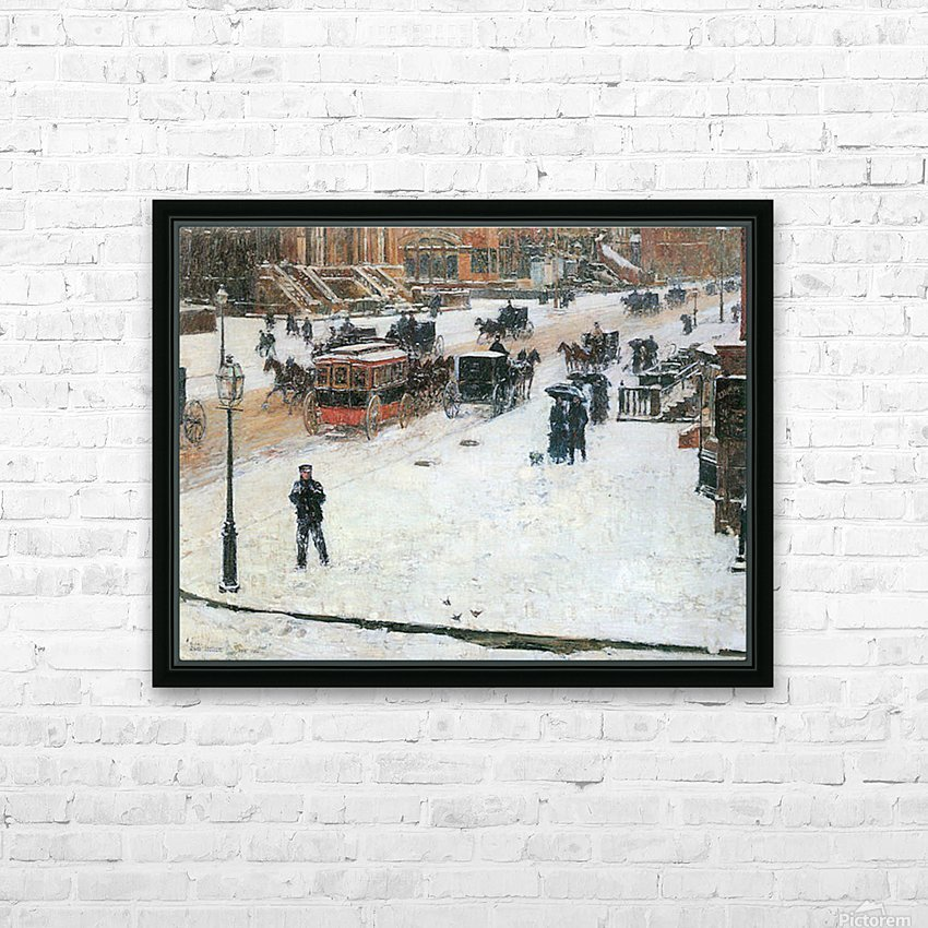 Fifth Avenue in Winter by Hassam HD Sublimation Metal print with Decorating Float Frame (BOX)