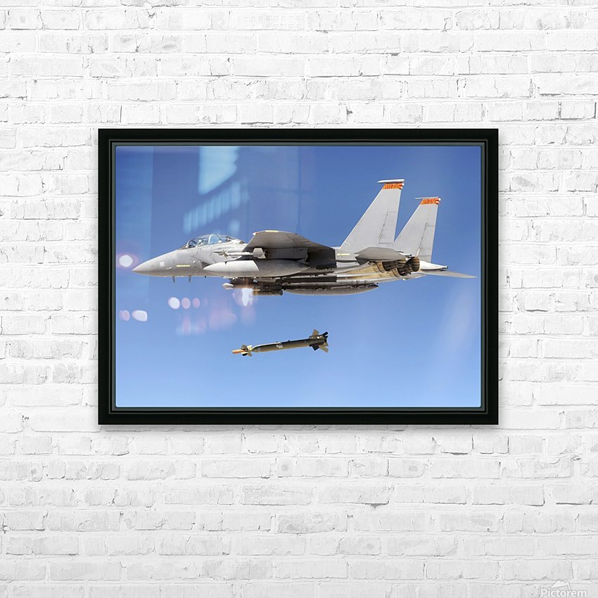 An F-15E Strike Eagle drops a GBU-28 bomb during a Combat Hammer mission. HD Sublimation Metal print with Decorating Float Frame (BOX)