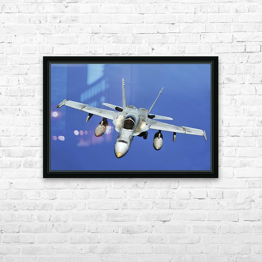 A F-A-18 Hornet participates in a mission in support of Rim of the Pacific. HD Sublimation Metal print with Decorating Float Frame (BOX)