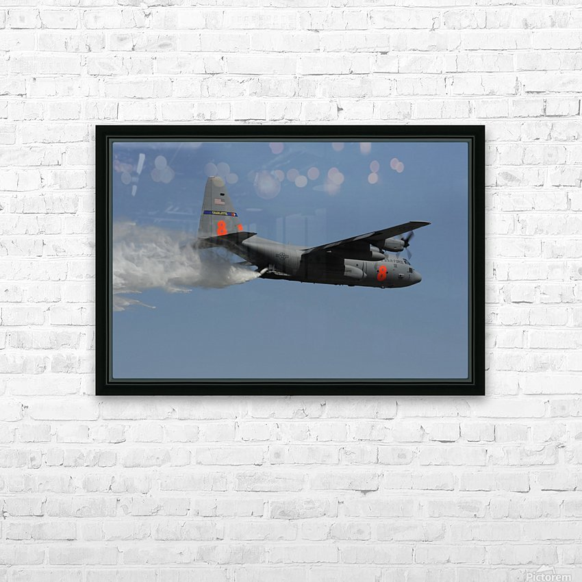 A U.S. Air Force C-130 Hercules releases its payload of water during training over South Carolina. HD Sublimation Metal print with Decorating Float Frame (BOX)